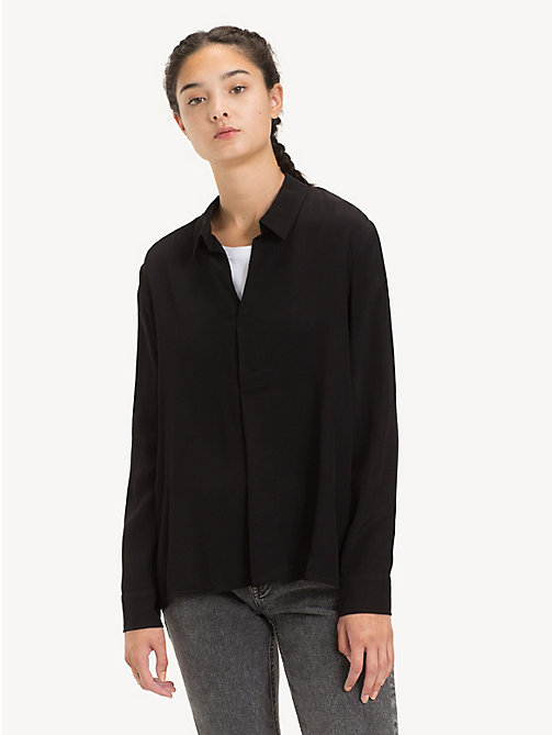 TOMMY JEANS Pleated Collar Blouse - TOMMY BLACK - TOMMY JEANS Tops - main image