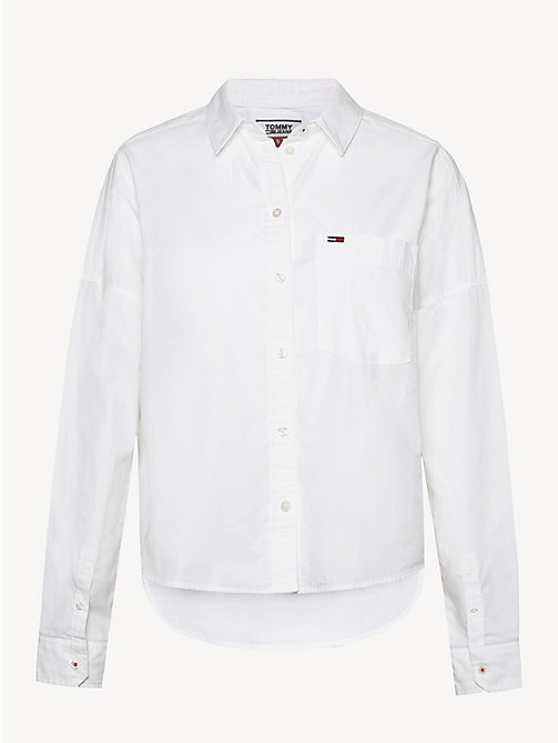 TOMMY JEANS Cropped Cotton Shirt - CLASSIC WHITE - TOMMY JEANS Tops - detail image 1