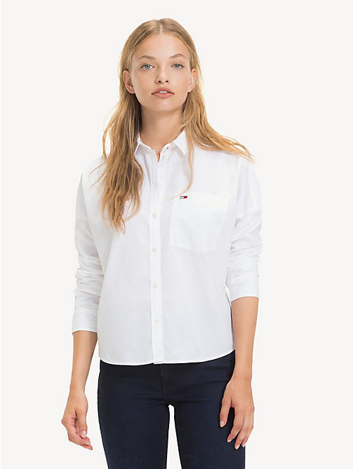 TOMMY JEANS Cropped Cotton Shirt - CLASSIC WHITE - TOMMY JEANS Tops - main image