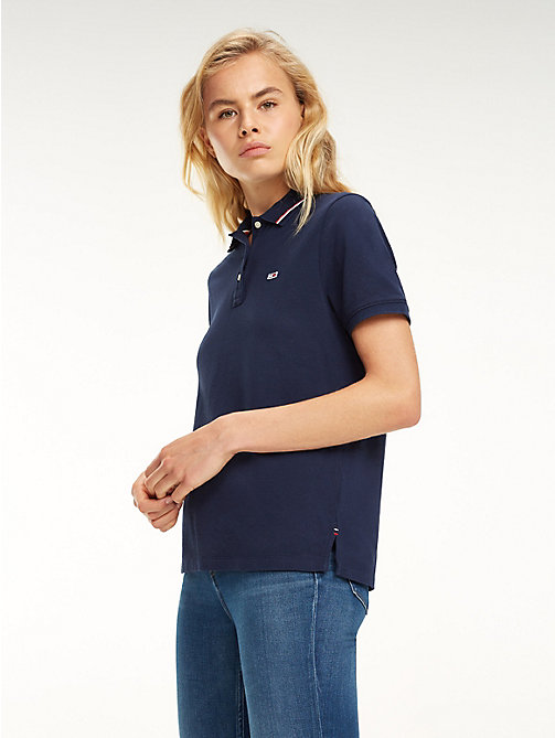 TOMMY JEANS Tommy Classics Organic Cotton Polo - BLACK IRIS - TOMMY JEANS Tops - main image