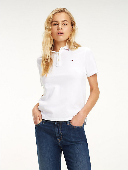 TOMMY JEANS Tommy Classics Organic Cotton Polo - CLASSIC WHITE - TOMMY JEANS Tops - main image