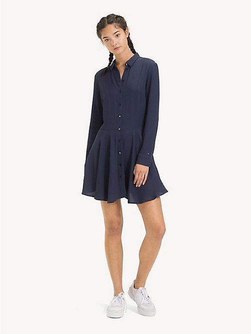 TOMMY JEANS Flare Fit Shirt Dress - BLACK IRIS - TOMMY JEANS Dresses - main image