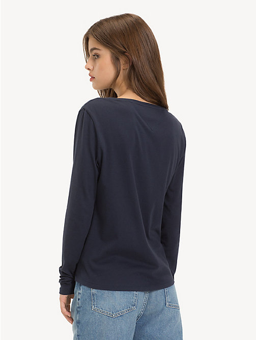 TOMMY JEANS Organic Cotton Long Sleeve Top - BLACK IRIS - TOMMY JEANS Sustainable Evolution - detail image 1