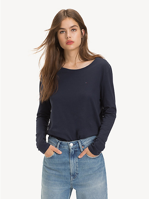 TOMMY JEANS Organic Cotton Long Sleeve Top - BLACK IRIS - TOMMY JEANS Sustainable Evolution - main image