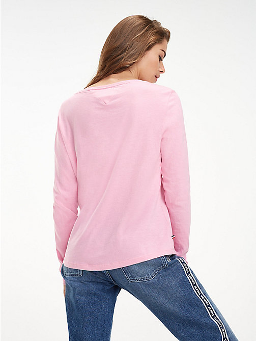 TOMMY JEANS Organic Cotton Long Sleeve Top - LILAC CHIFFON -  Sustainable Evolution - detail image 1