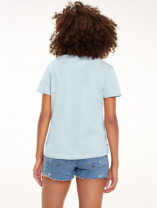 TOMMY JEANS T-Shirt aus Bio-Baumwolle mit Flag-Patch - CANAL BLUE - TOMMY JEANS Tops - main image 1