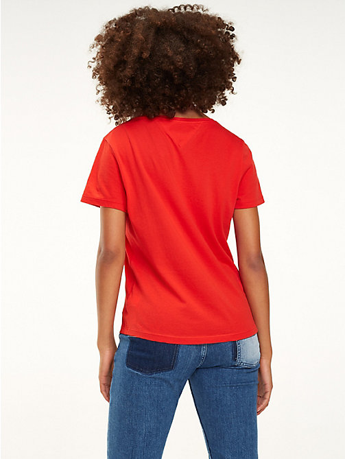 TOMMY JEANS Organic Cotton Flag Patch T-Shirt - FLAME SCARLET - TOMMY JEANS Tops - detail image 1