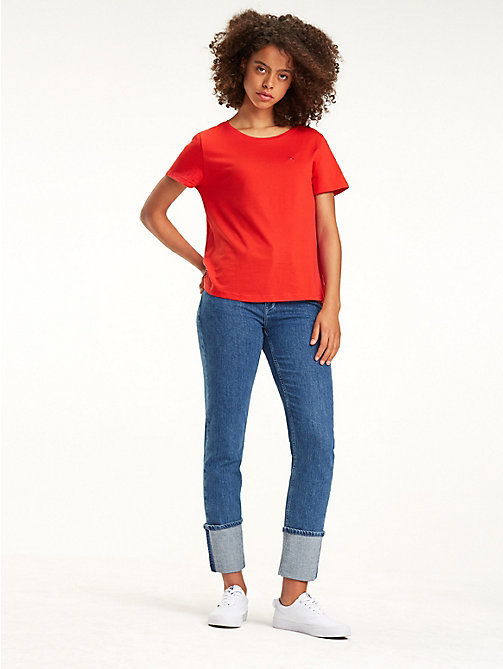 TOMMY JEANS Organic Cotton Flag Patch T-Shirt - FLAME SCARLET - TOMMY JEANS Tops - main image