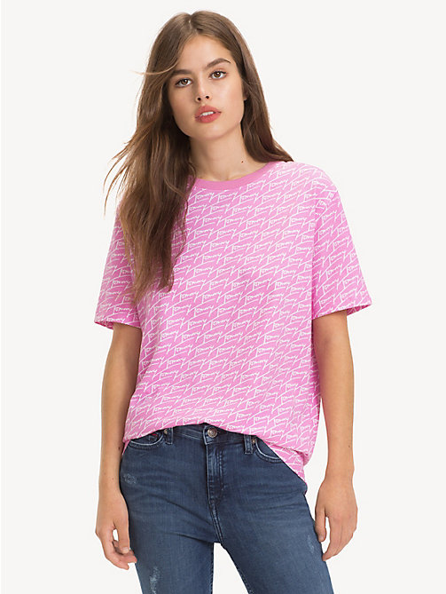TOMMY JEANS All-Over Signature Logo T-Shirt - SIGNATURE AOP / LILAC CHIFFON - TOMMY JEANS Tops - main image