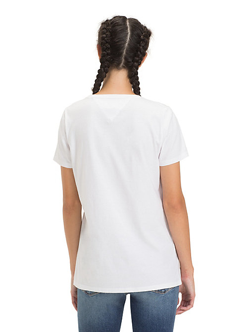 TOMMY JEANS T-shirt met ronde hals en metallic logo - CLASSIC WHITE - TOMMY JEANS Tops - detail image 1