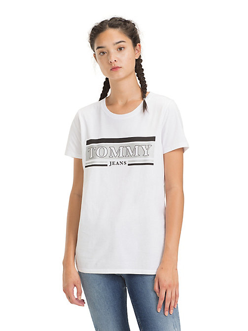 TOMMY JEANS Crew Neck Metallic Logo T-Shirt - CLASSIC WHITE - TOMMY JEANS Tops - main image