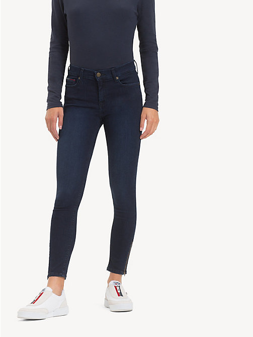 TOMMY JEANS Nora Mid Rise Zip Hem Jeans - AVENUE DARK BLUE STR - TOMMY JEANS Jeans - main image