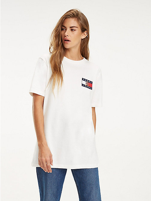 TOMMY JEANS Crest Flag Logo T-Shirt - CLOUD DANCER - TOMMY JEANS TOMMY JEANS Capsule - main image