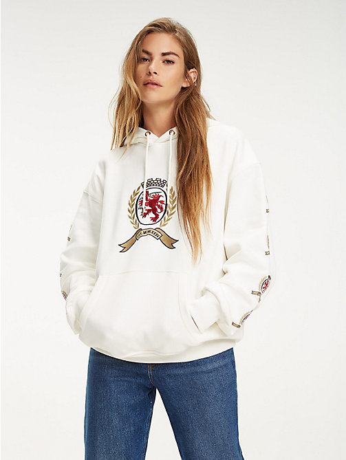 TOMMY JEANS Repeat Crest Sleeve Hoody - CLOUD DANCER - TOMMY JEANS TOMMY JEANS Capsule - main image
