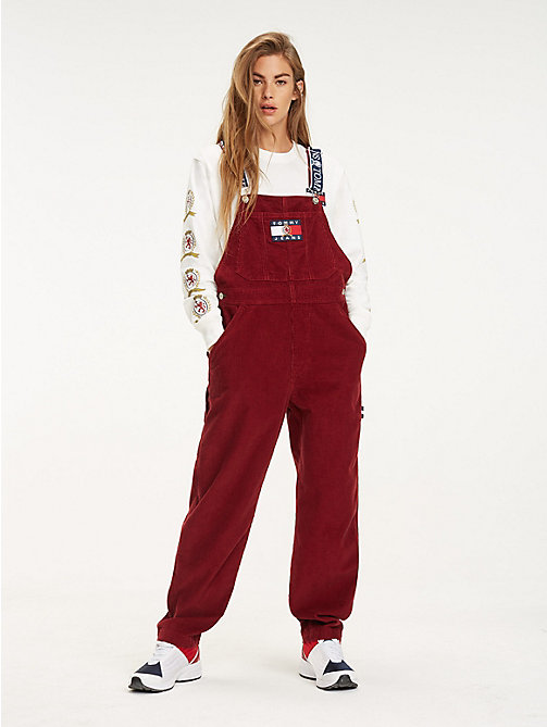 TOMMY JEANS Logo Strap Corduroy Dungarees - CABERNET - TOMMY JEANS TOMMY JEANS Capsule - main image