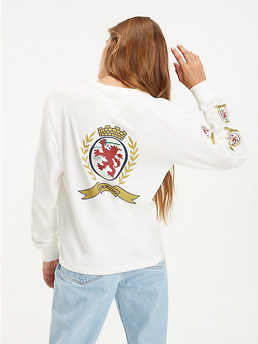 TOMMY JEANS Repeat Crest Long Sleeve T-Shirt - CLOUD DANCER - TOMMY JEANS TOMMY JEANS Capsule - detail image 1
