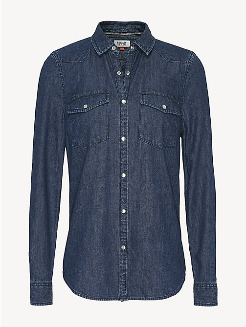 TOMMY JEANS Cotton Denim Shirt - SAUNBY DARK RIGID - TOMMY JEANS Tops - detail image 1
