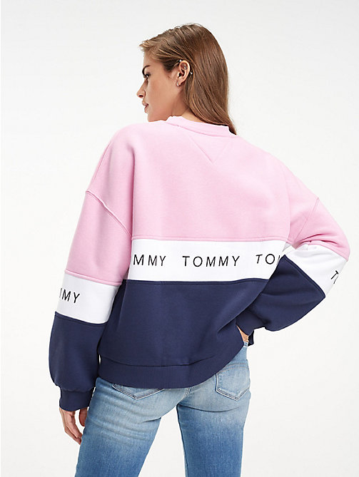 TOMMY JEANS Logo Tape Colour-Blocked Sweatshirt - BLACK IRIS / MULTI - TOMMY JEANS Sweatshirts & Hoodies - detail image 1