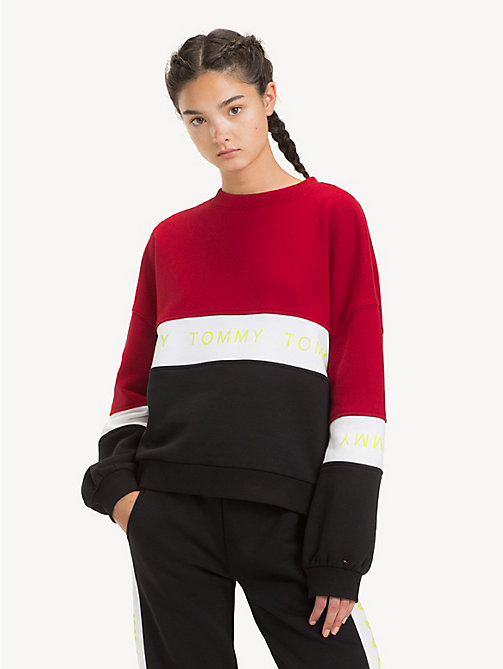 TOMMY JEANS Logo Tape Colour-Blocked Sweatshirt - TOMMY BLACK / MULTI - TOMMY JEANS Sweatshirts & Hoodies - main image