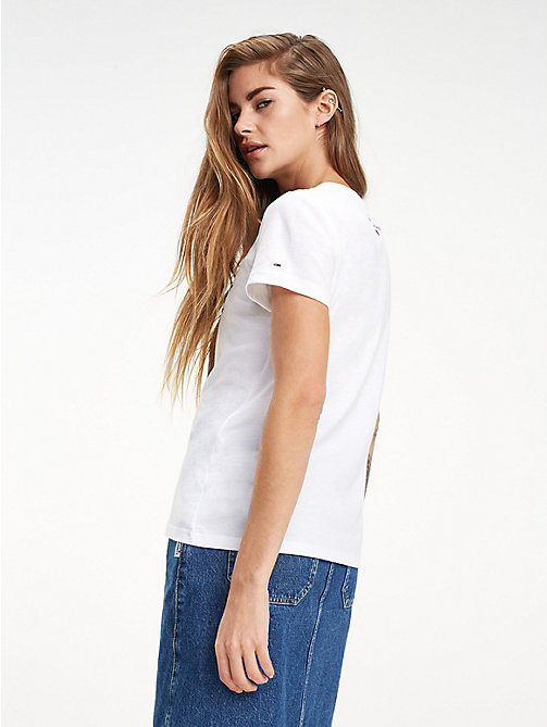 TOMMY JEANS Bio-Baumwoll-T-Shirt mit Schriftzug-Logo - CLASSIC WHITE - TOMMY JEANS Sustainable Evolution - main image 1