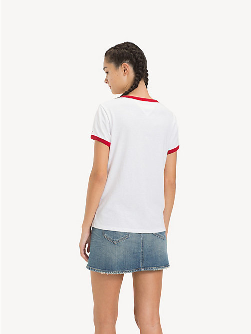 TOMMY JEANS Signature Logo T-Shirt - CLASSIC WHITE - TOMMY JEANS Tops - detail image 1