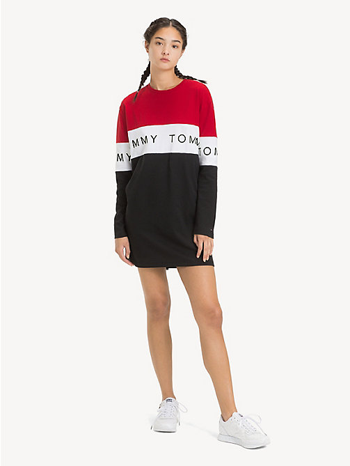 TOMMY JEANS Long Sleeve T-Shirt Dress - TOMMY BLACK / MULTI - TOMMY JEANS Dresses - main image