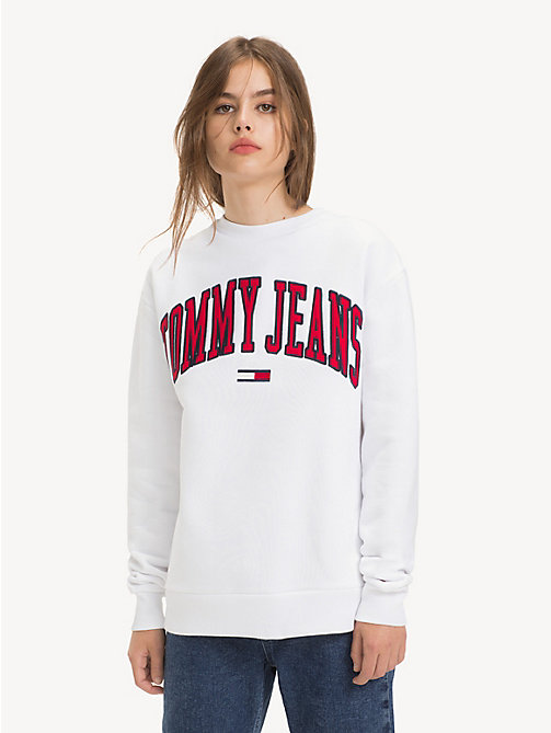 TOMMY JEANS Tommy Classics Logo Sweatshirt - CLASSIC WHITE - TOMMY JEANS Sweatshirts & Hoodies - main image