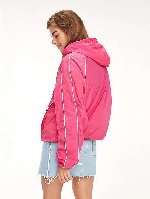 TOMMY JEANS Contrast Piping Popover Jacket - FUCHSIA PURPLE - TOMMY JEANS Girlfriend Jeans - detail image 1