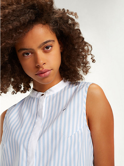 TOMMY JEANS Pleated Stripe Blouse - SERENITY / CLASSIC WHITE - TOMMY JEANS Tops - detail image 1