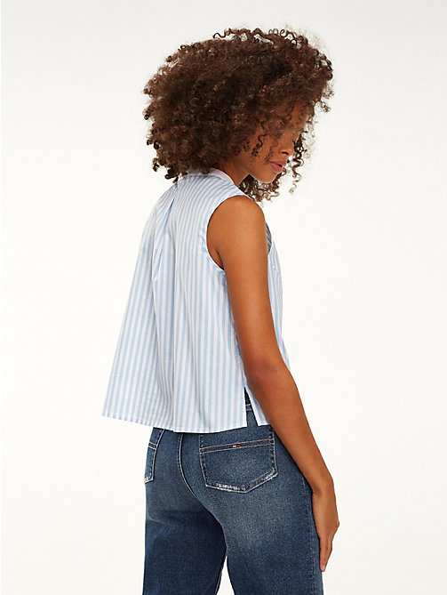 TOMMY JEANS Pleated Stripe Blouse - SERENITY / CLASSIC WHITE - TOMMY JEANS Tops - main image