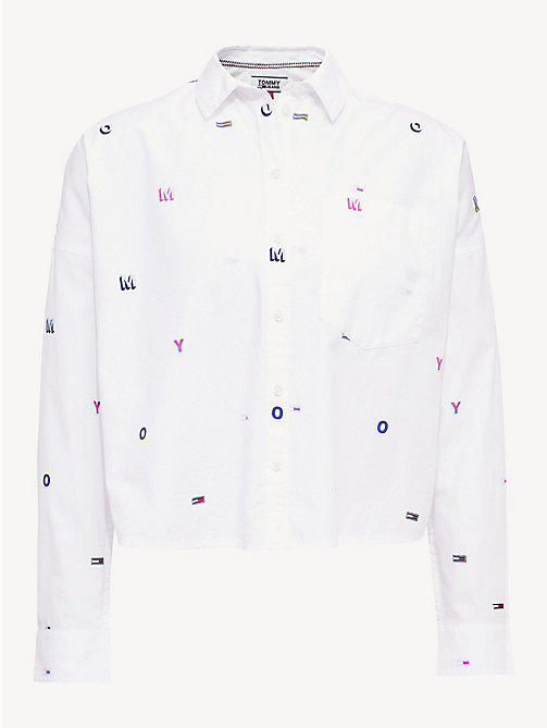 TOMMY JEANS Flag Monogram Embroidery Shirt - CLASSIC WHITE / TOMMY AOP - TOMMY JEANS Tops - detail image 1
