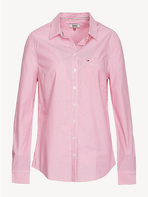 TOMMY JEANS Stripe Cotton Poplin Shirt - FUCHSIA PURPLE / CLASSIC WHITE - TOMMY JEANS Tops - detail image 1