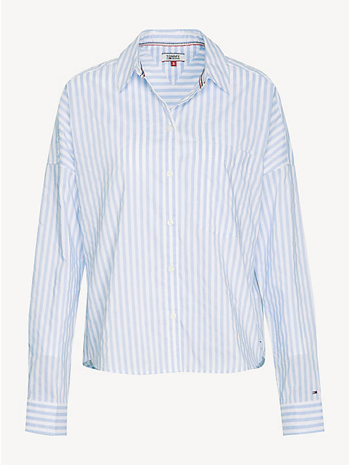 TOMMY JEANS Cropped Stripe Shirt - SERENITY / CLASSIC WHITE - TOMMY JEANS Tops - detail image 1