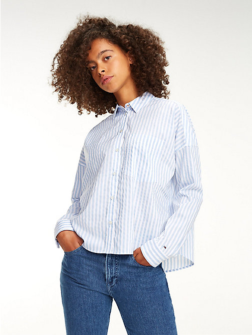 TOMMY JEANS Cropped Stripe Shirt - SERENITY / CLASSIC WHITE - TOMMY JEANS Tops - main image
