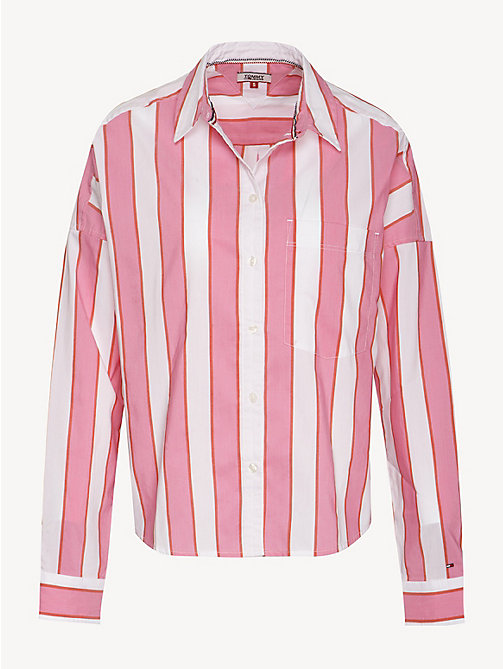 TOMMY JEANS Cropped Stripe Shirt - SHOCKING PINK / MULTI - TOMMY JEANS Tops - detail image 1