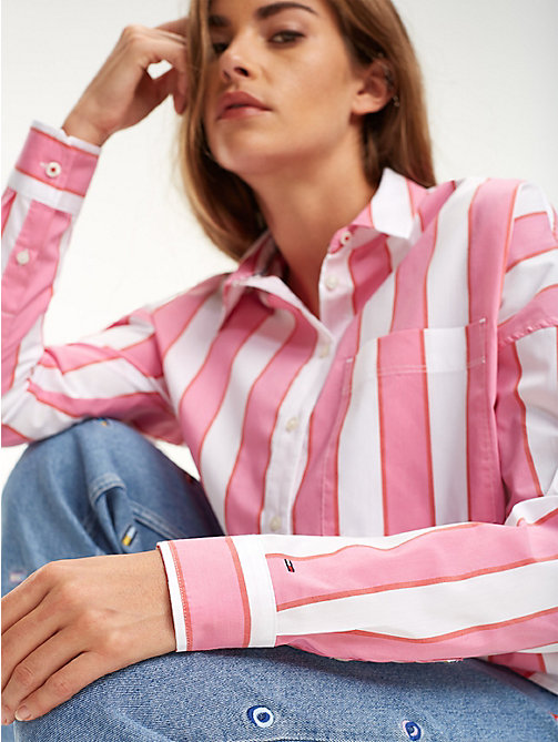 TOMMY JEANS Cropped Stripe Shirt - SHOCKING PINK / MULTI - TOMMY JEANS Tops - main image