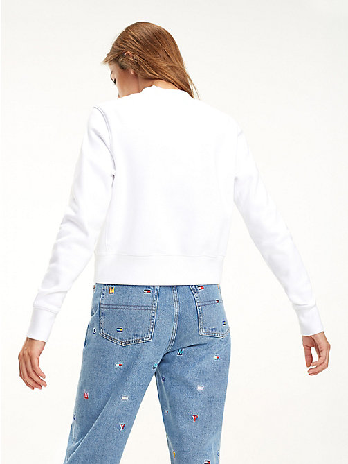 TOMMY JEANS Cropped sweatshirt met ronde hals - CLASSIC WHITE - TOMMY JEANS Sweatshirts & Hoodies - detail image 1