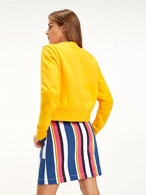 TOMMY JEANS Cropped Crew Neck Sweatshirt - RADIANT YELLOW - TOMMY JEANS Sweatshirts & Hoodies - detail image 1