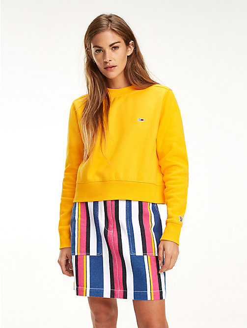 TOMMY JEANS Cropped Crew Neck Sweatshirt - RADIANT YELLOW - TOMMY JEANS Sweatshirts & Hoodies - main image