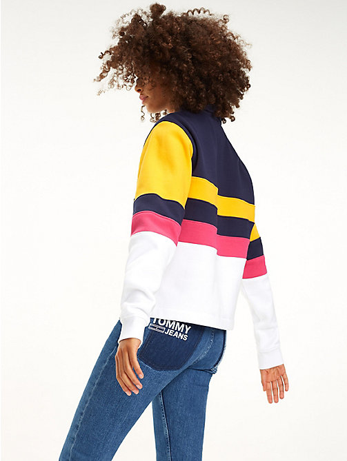 TOMMY JEANS Colour-Blocked Cropped Sweatshirt - BLACK IRIS / MULTI - TOMMY JEANS Sweatshirts & Hoodies - detail image 1