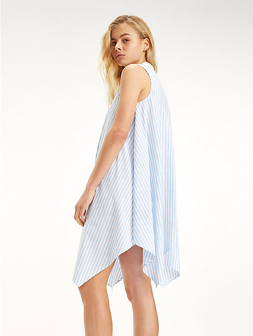 TOMMY JEANS High-Low Hem Stripe Dress - SERENITY / CLASSIC WHITE - TOMMY JEANS Mini - detail image 1