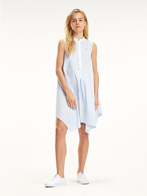 TOMMY JEANS High-Low Hem Stripe Dress - SERENITY / CLASSIC WHITE - TOMMY JEANS Mini - main image