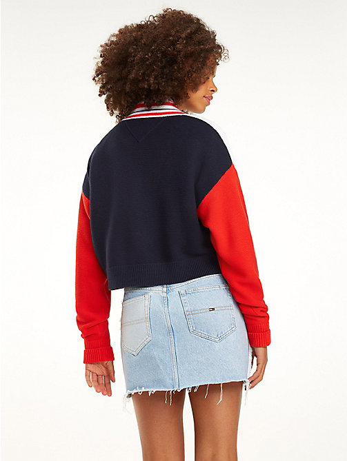 TOMMY JEANS Colour-Blocked Cropped Cardigan - LIMOGES / MULTI - TOMMY JEANS Knitwear - detail image 1