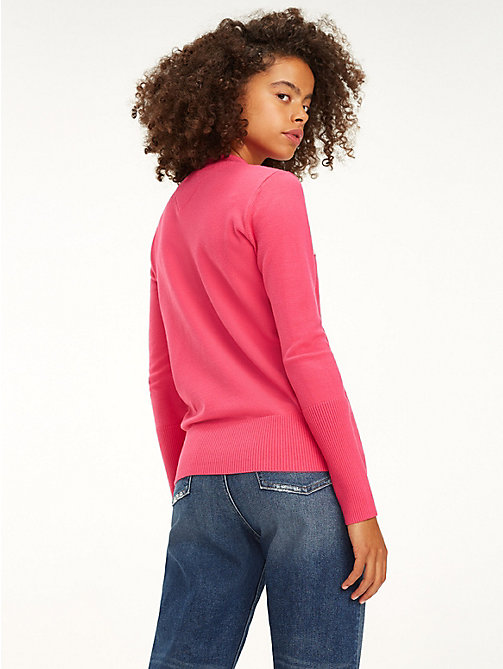 TOMMY JEANS Colour-Blocked Graphic Stripe Jumper - FUCHSIA PURPLE - TOMMY JEANS Knitwear - detail image 1