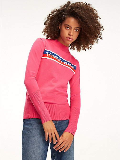 TOMMY JEANS Colour-Blocked Graphic Stripe Jumper - FUCHSIA PURPLE - TOMMY JEANS Knitwear - main image
