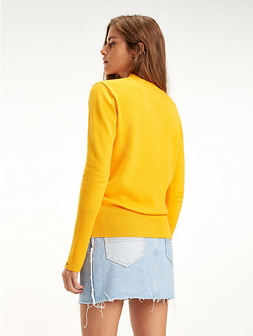 TOMMY JEANS Colour-Blocked Graphic Stripe Jumper - RADIANT YELLOW - TOMMY JEANS Knitwear - detail image 1