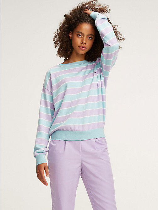 TOMMY JEANS Pull rayé à col bateau - PASTEL LILAC / CANAL BLUE - TOMMY JEANS Pulls & Gilets - image principale