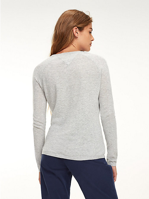 TOMMY JEANS Essential Contrast Piping Jumper - LT GREY HTR - TOMMY JEANS Knitwear - detail image 1