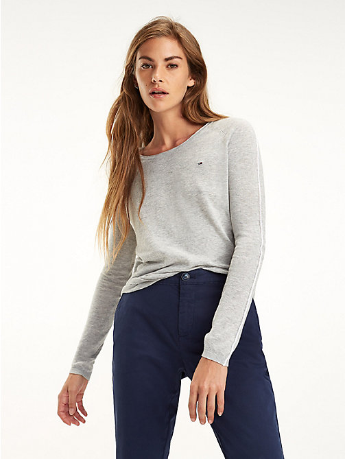 TOMMY JEANS Essential Contrast Piping Jumper - LT GREY HTR - TOMMY JEANS Knitwear - main image