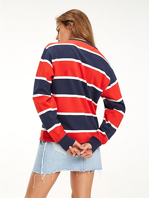 TOMMY JEANS Colour-blocked T-shirt met lange mouwen - BLACK IRIS / FLAME SCARLET - TOMMY JEANS Tops - detail image 1